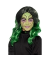 Lange zwart met groene meisjespruik met krullen