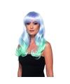 Luxe lila/turquoise lange pruik voor dames