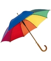 Luxe Regenboog paraplu met houten handvat 103 cm