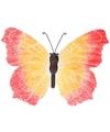 Metalen vlinder oranje/rood 40 cm tuin decoratie