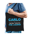 Naam cadeau tas Carlo - the legend zwart voor heren
