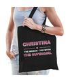 Naam cadeau tas Christina - the supergirl zwart voor dames