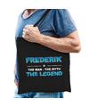 Naam cadeau tas Frederik - the legend zwart voor heren