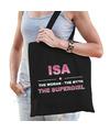 Naam cadeau tas Isa - the supergirl zwart voor dames