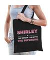 Naam cadeau tas Shirley - the supergirl zwart voor dames