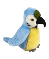Pluche blauw/gele ara papegaai knuffel 18 cm