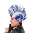 Punker mohawk wit-blauw