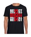 Respect rood kruis t-shirt zwart voor heren