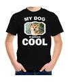 Shiba inu honden t-shirt my dog is serious cool zwart voor kinderen