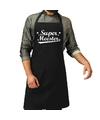 Super meester cadeau bbq/keuken schort zwart heren