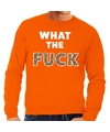 What the Fuck tijgerpint tekst sweater oranje voor heren