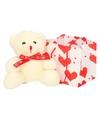 Witte pluche knuffelbeer met rood sjaaltje 10 cm