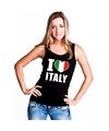 Zwart I love Italie fan singlet shirt/ tanktop dames